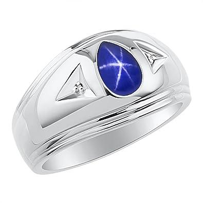 754a0d967dbafe Timeless Pear Shape Blue Star Sapphire & Natural Diamond Ring Sterling  Silver .925 Amazon.com