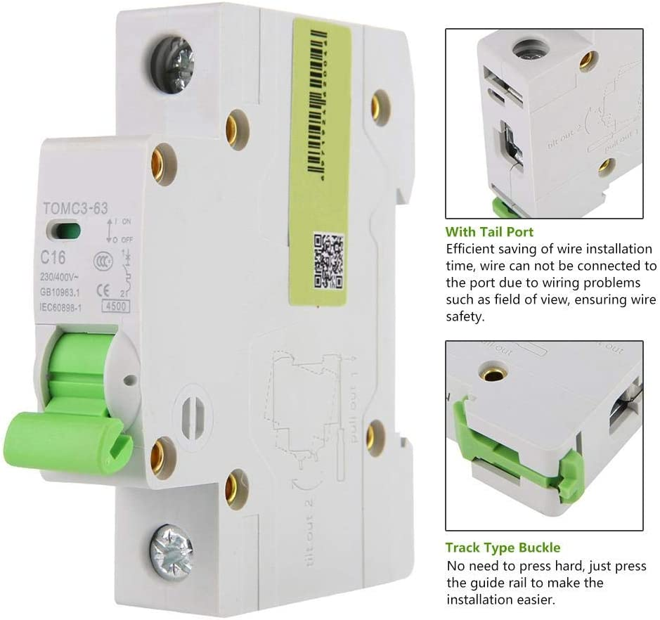 AC 400V 2P Miniature Circuit Breaker,TOMC3-63 C Type Miniature Circuit Breaker C Curve with U-Shaped Bus-bar 10A