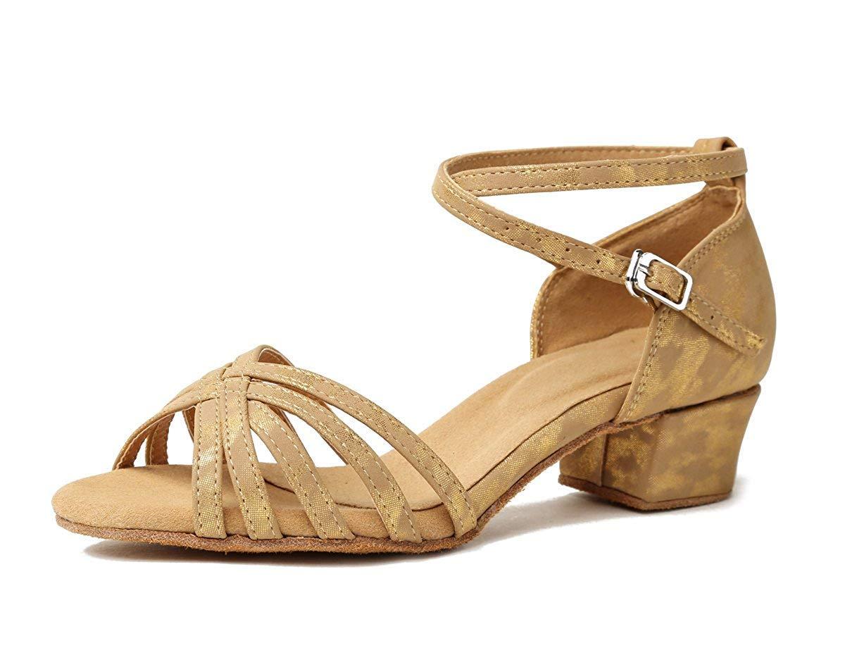 Willsego GL257 Damen Chunky Low Heel Synthetische Latin Salsa Tanzschuhe Party Sandalen (Farbe   Light braun-3.5cm Heel Größe   7 UK)
