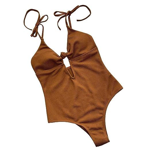 Psunrise Traje De Baño Women One Piece Swimsuit Solid Tie ...