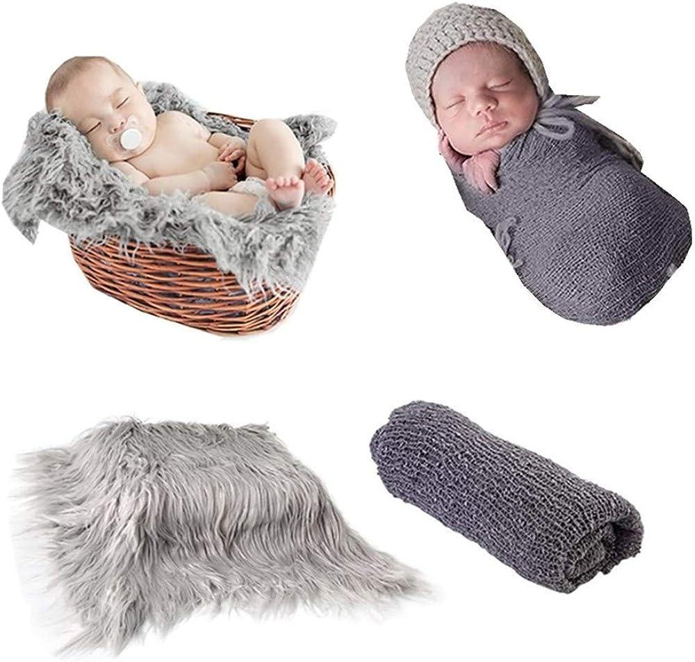 Fondo de fotografía de bebé recién nacido Alfombra de alfombra y manta de ondulación larga Swaddle Wraps para bebés y niños DIY Photo Props (Grey Blanket+dark Grey Wrap)