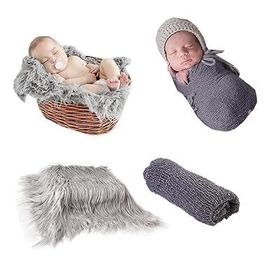 ZOYLINK Abrigo para Reci/én Nacidos Photo Prop Long Hair Fotograf/ía para Reci/én Nacidos Wrap Photo Blanket Tapete Shaggy Area con Ripple Wrap para Beb/é