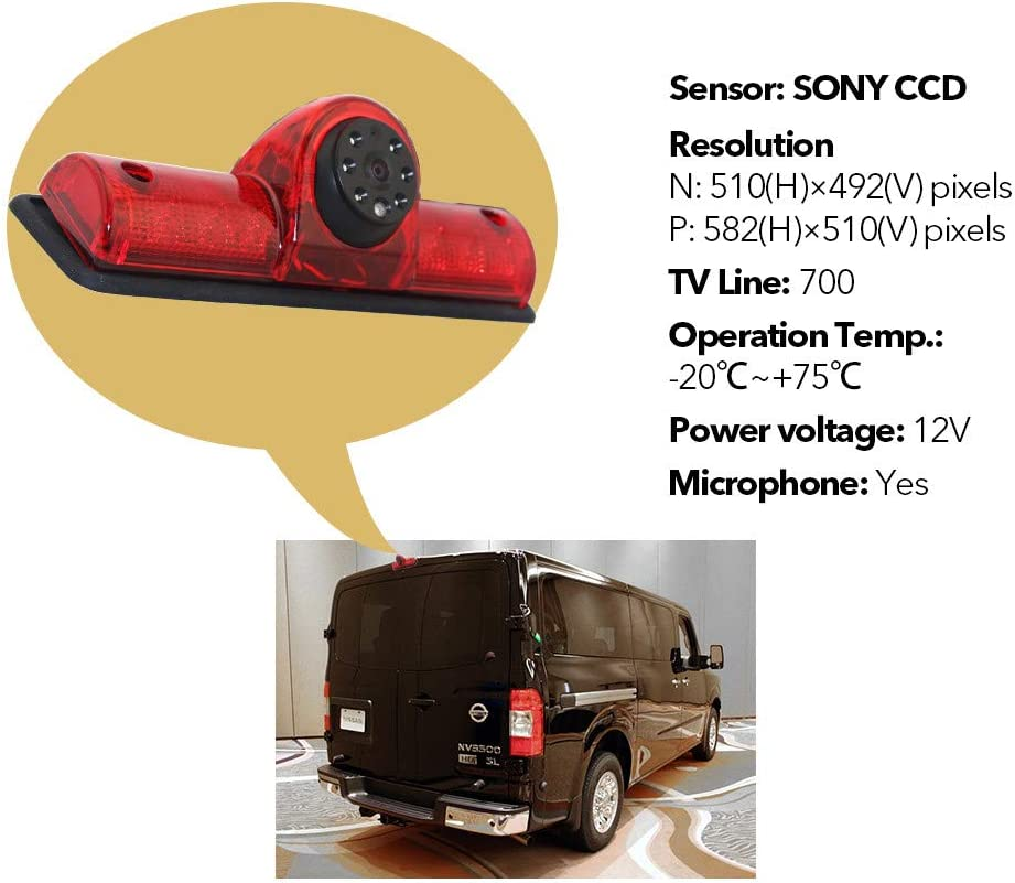 3RD Brake Light Rear View Backup Parking Reversing Camera with 7.0 Inch LCD Monitor Kits for Transporter Nissan NV 1500 2500 3500 NV Cargo Van 2012-2019