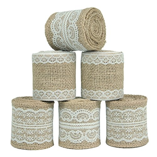 Nougat Decor Natural Burlap Ribbon with White Lace Trims, 6 Rolls/Package, 78 Inches x 2.3 Inches Each