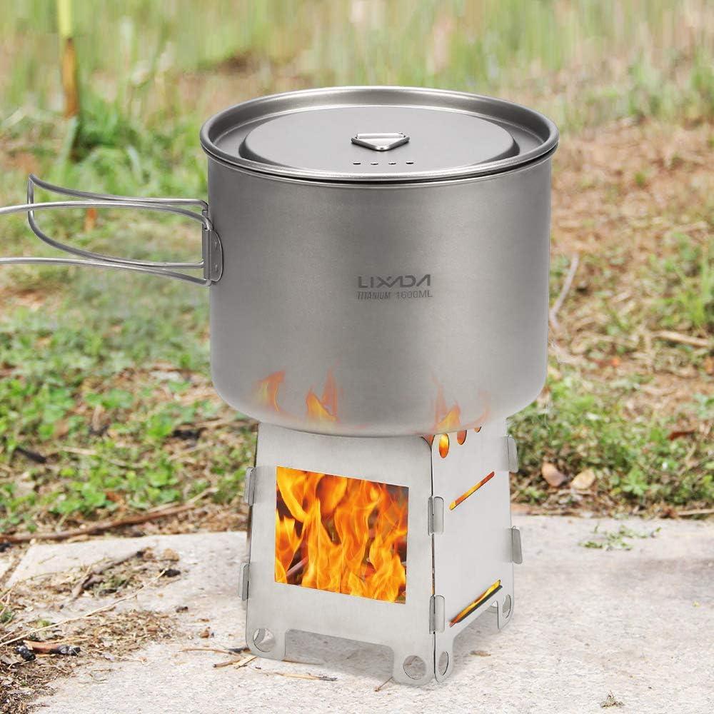 Lixada Estufa de Camping Titanio Port/átil Plegable Estufa de Le/ña para Cocina Picnic Caza Acampada al Aire Libre