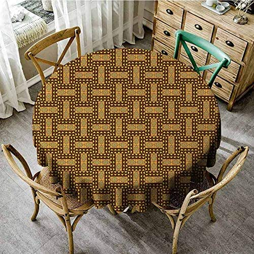 Kente Pattern,Spillproof Tablecloth,55 INCH,Vintage National Pattern Triangles and Diamond Line Motifs,for Events Party Restaurant Dining Table Cover,Brown Earth Yellow Mauve