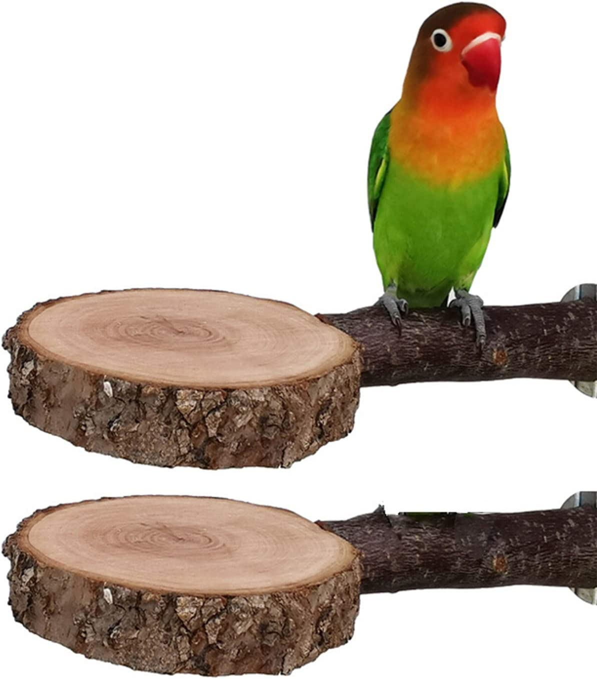 Tfwadmx Bird Perch Stand, Wooden Parrot Platform for Cage Natural Apple Wood Playground Cage Accessories for Small Parakeets Parrot Budgies Cockatiels Conure Lovebirds, 2 Pack