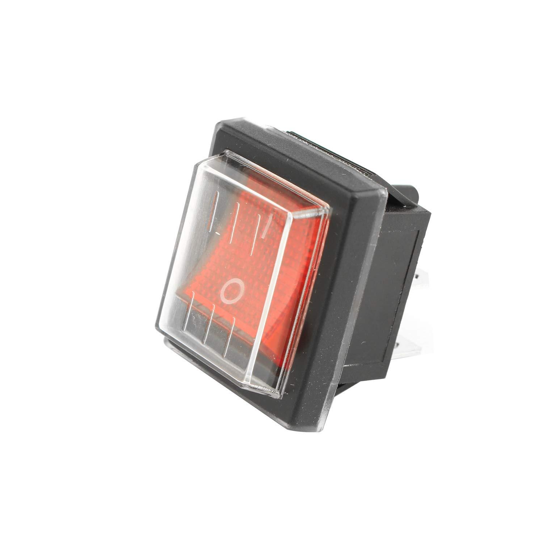 Luce Rossa 250 V AC 4 terminali Interruttore a bilanciere Universale per aspirapolvere Industriale Interruttore on//off DPST 16 A Futheda con Copertura Impermeabile