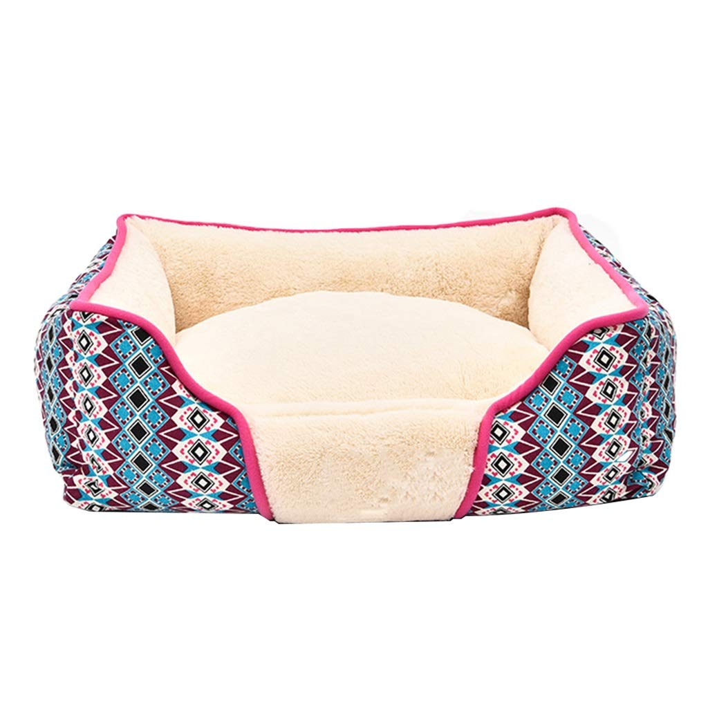 Pink 615218cmDogHouses Dog Bed American Country Kennel Cat Litter Winter Warm Cat House Cat Bed Rectangular Comfortable Cushion Gift (color   Pink, Size   61  52  18cm)