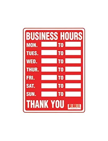 Amazon.com : Business Hours Sign : Business And Store Signs ...
