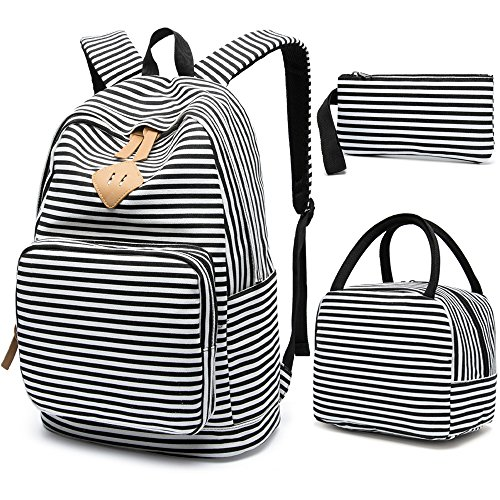 School Backpack for Girls, BLUBOON Canvas Bookbag College Laptop Rucksack Women Ladies Travel Daypack Lunch Box Bag Pencil Case (Black White Stripe) -
