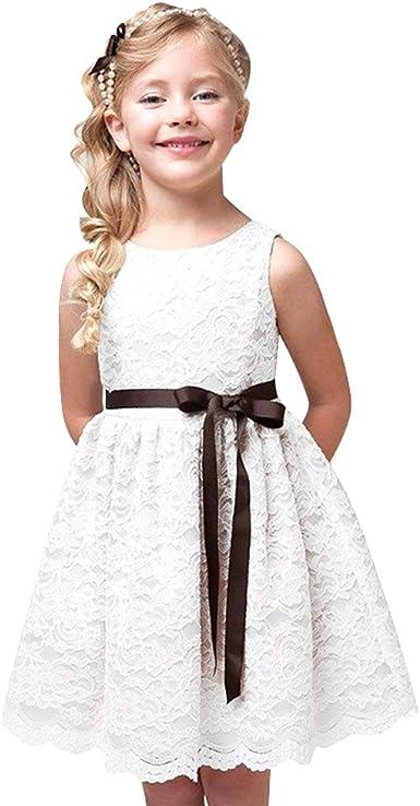 LPATTERN Vestido Elegante Niña Ceremonia Fiesta Sin Mangas Lace Lazo Princesa Verano: Amazon.es: Ropa y accesorios