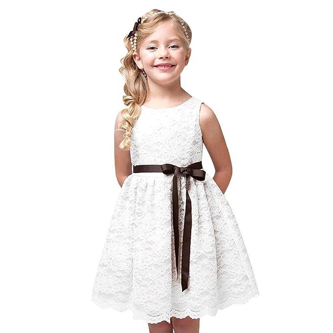 LPATTERN Vestido Elegante Niña Ceremonia Fiesta Sin mangas Lace Lazo Princesa Verano Blanco 150 13-
