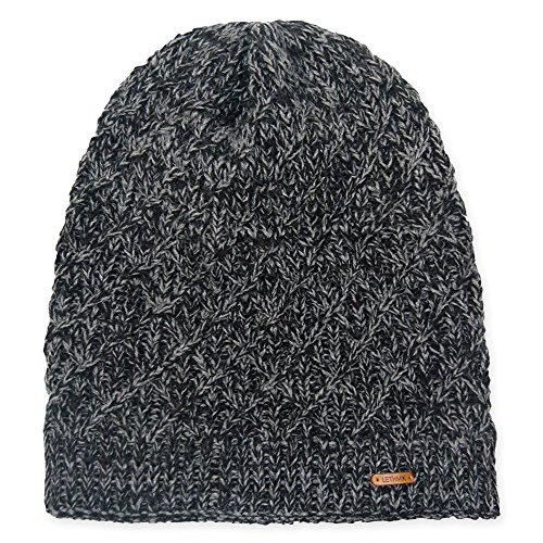 Diamond Knit Hat (lethmik Diamond Knit Beanie Hat, Winter Slouchy Daily Warm Unique Ski Skull Cap Dark Grey)