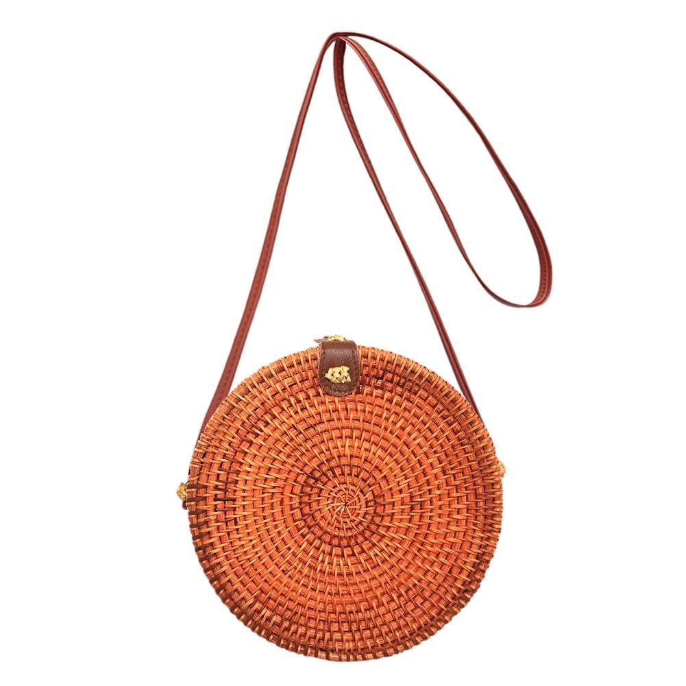 HOSPORT Round Straw Crossbody Bag Circle Rattan Bag Latest Color