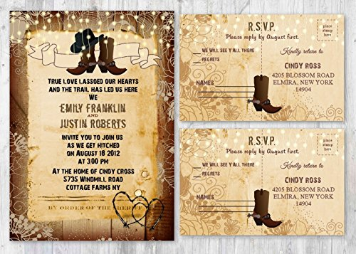 Set of 130 Western Rustic Country Themed Wedding Invitations - Invitation & RSVP Cards by New York Invitations
