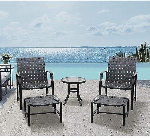 LUCKWIND Patio Lounge Chair Sofa Ottoman