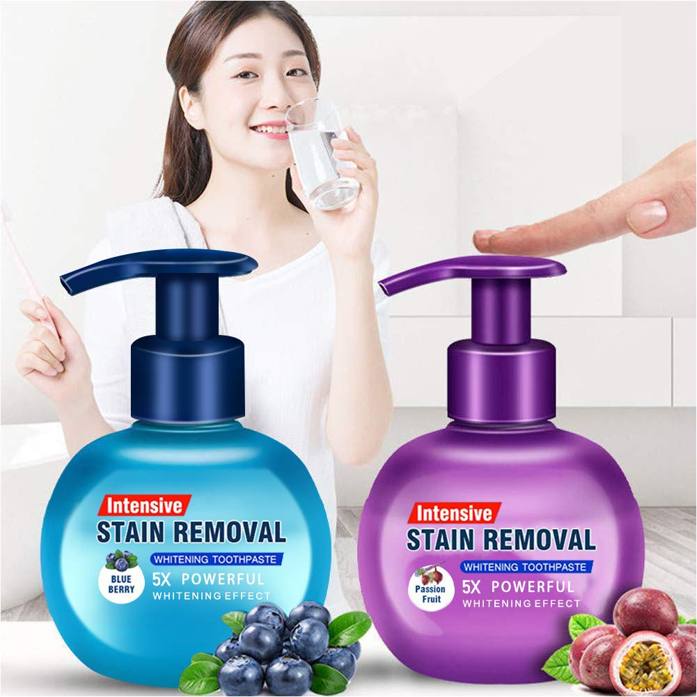 Baking Soda Whitening Toothpaste, Elaco Stain Removal Whitening Toothpaste Strong Cleaning Power Natural Stain Remover Fluoride-Free Toothpaste(Blueberry+Passion Fruit)