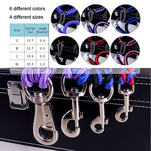 ACCENTORY Dog Nylon Adjustable Loop Slip Leash Rope Lead 1.2m Pet Products Remington Rope Slip Dog Leash 6-Feet Training Leashes (M(1.5cm), black-pink)