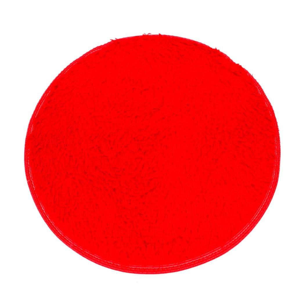 Bestpriceam Soft Bath Bedroom Floor Shower Round Mat Rug Non-slip (Red)