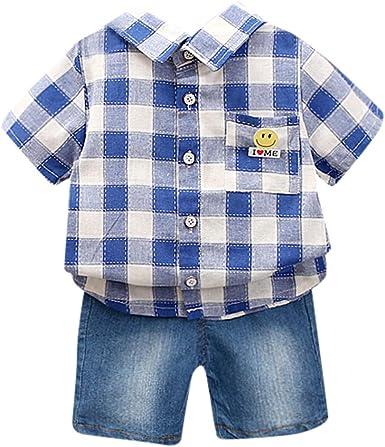 Wesracia Camisa polo para niños pequeños con diseño de cuadros - Azul marino - 12 meses: Amazon.es: Ropa y accesorios