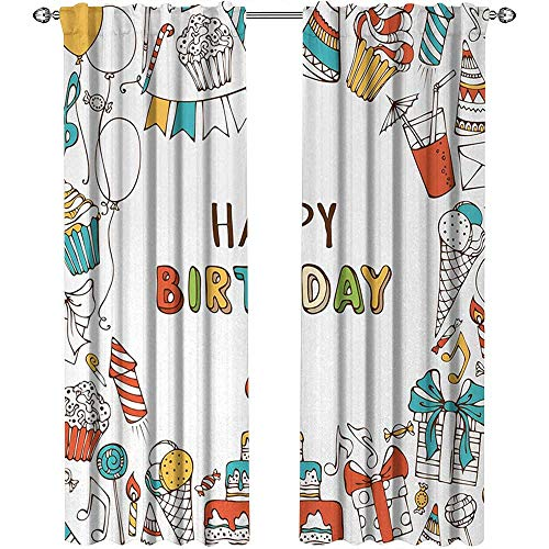 Returiy Birthday, Curtains Blackout 2 Panels, Hand Drawn Birthday Celebration Sweets Party Blowouts Presents Music Note Garlands, Curtains for Boys Room, W84 x L96 Inch, Multicolor