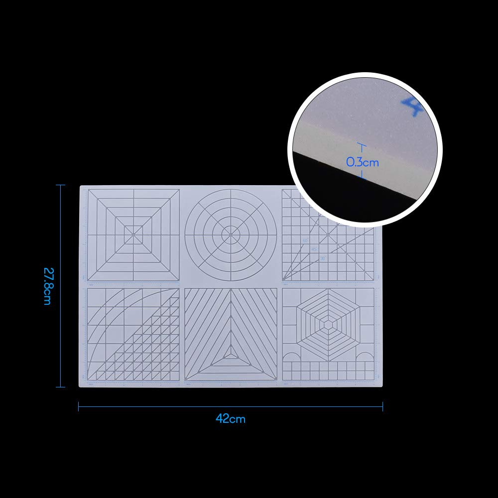 Mehrzweck 3D Druck Stift Vorlage Weiche Silikonmatte 3D Zeichnungsvorlagen Kopierbrett mit 2 ST/ÜCKE Fingerlinge