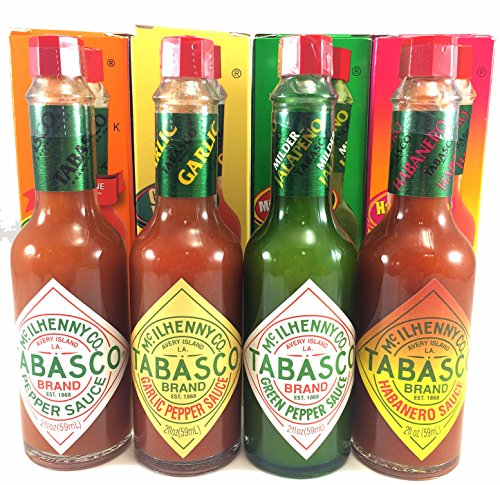 (Tabasco Sauce Variety 4 Pack Original, Garlic, Green Pepper, Hababero)