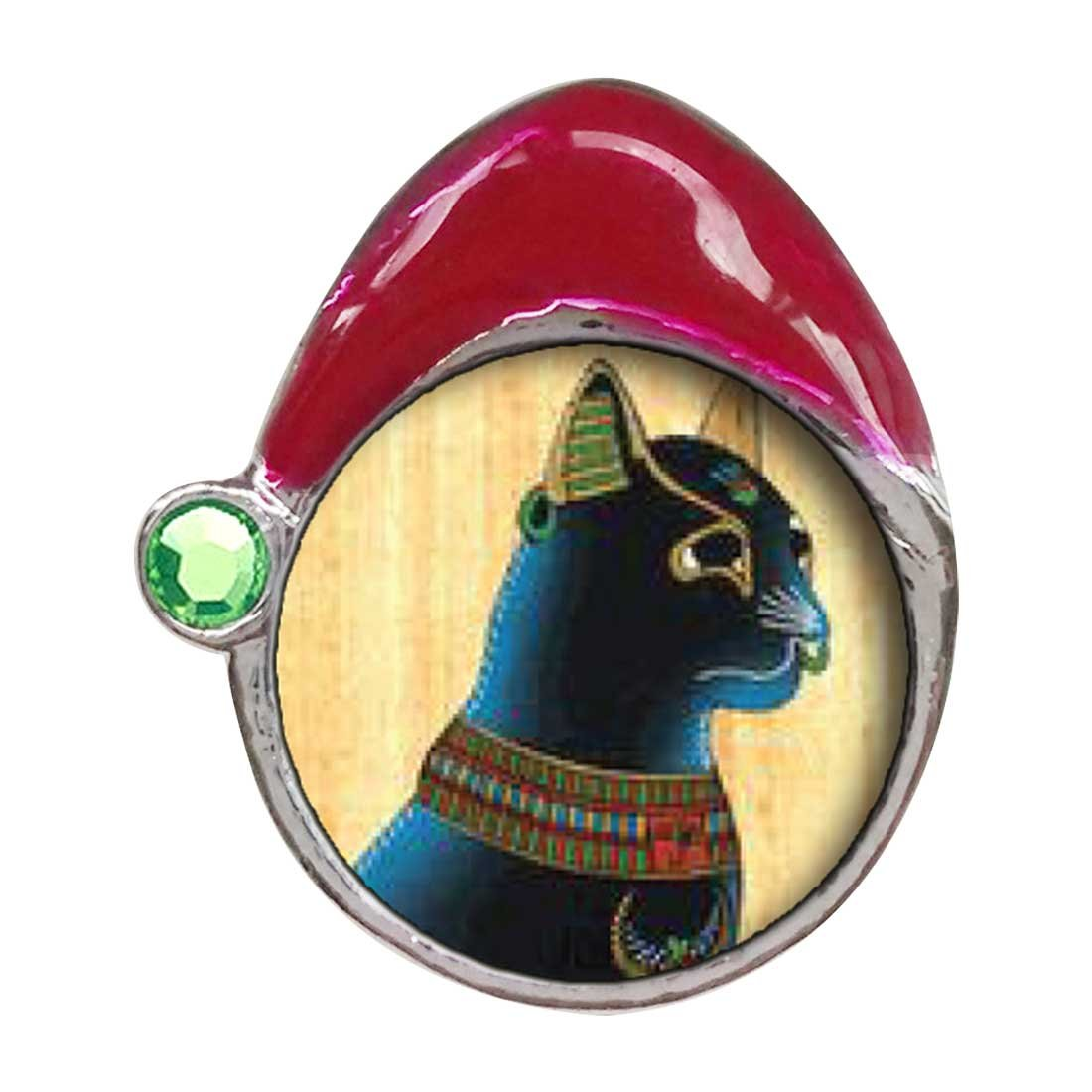 GiftJewelryShop Egyptian Bastet Cat Peridot Crystal August Birthstone Red Santa Hat Charm Bracelets