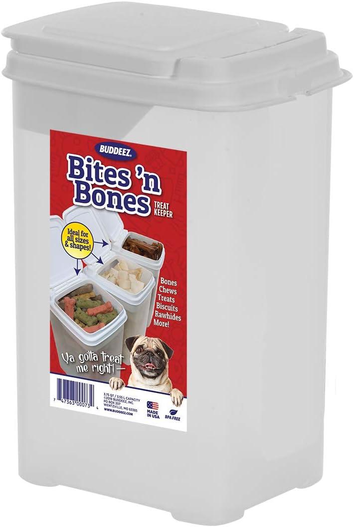 Buddeez Bites and Bones 3-1/2-Quart Flip Lid Canister for Treats and Chews