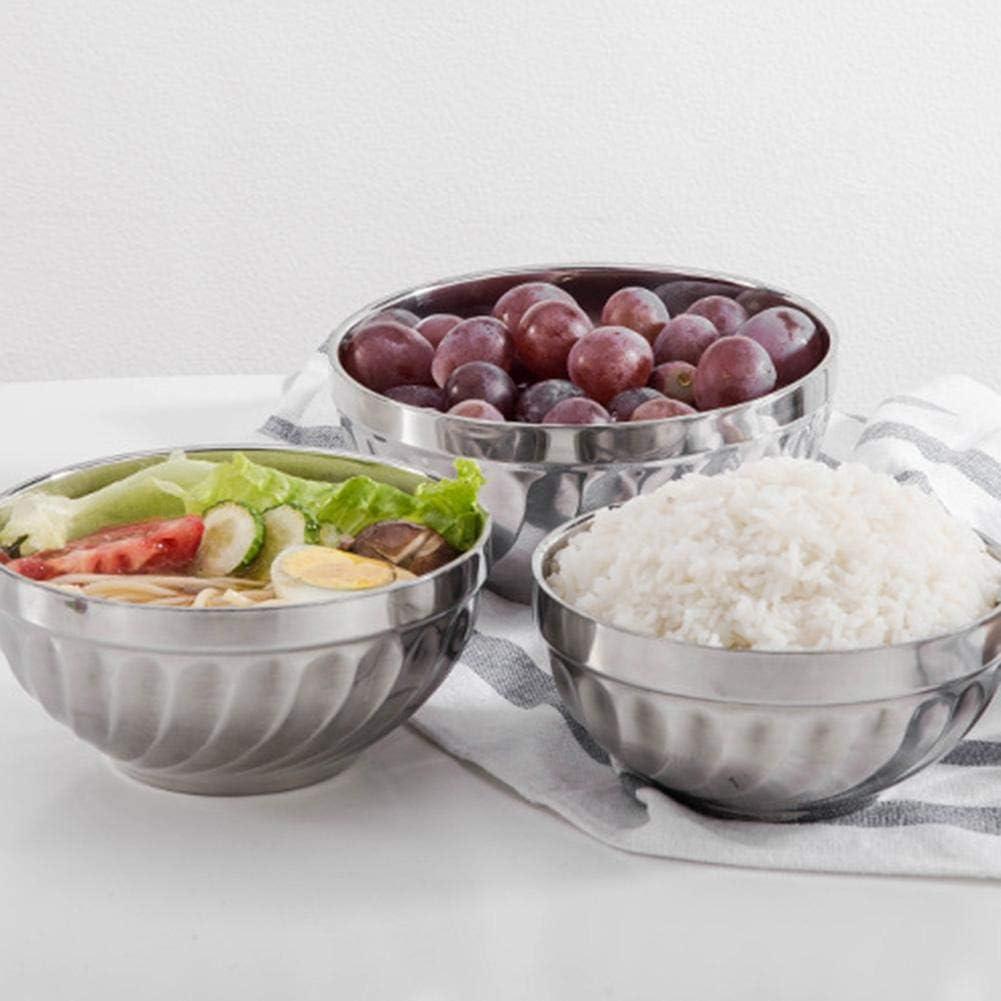 Escribe un taz/ón de servir de helado de arroz a prueba de golpes de doble pared para guarder/ía escolar en el hogar 12//13//14 cm Juego de tazones de acero inoxidable de 3 piezas para ni/ños