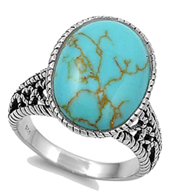 f9a09ce417f2e5 Round Cut Sleeping Beauty Green TURQUOISE Navajo Arizona Spirit Sterling  Silver Ring size 6-10