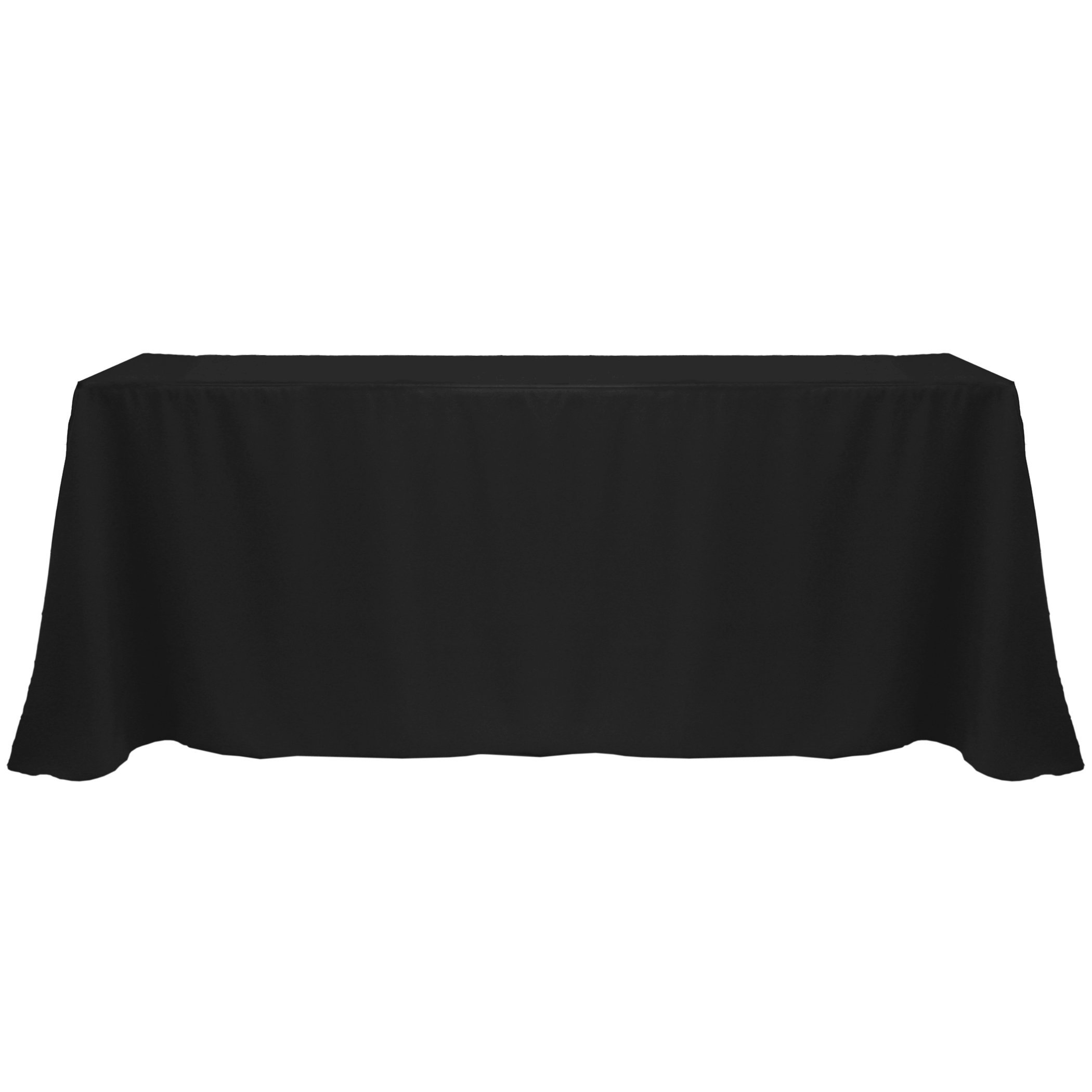 Ultimate Textile (10 Pack) 90 x 132-Inch Rectangular Polyester Linen Tablecloth with Rounded Corners - for Wedding, Restaurant or Banquet use, Black
