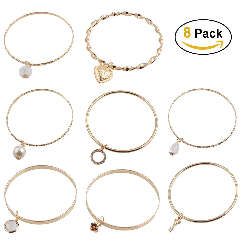 Bangle Bracelets Jewelry – 8PCS Gold Indian Bangles Ideal Gift