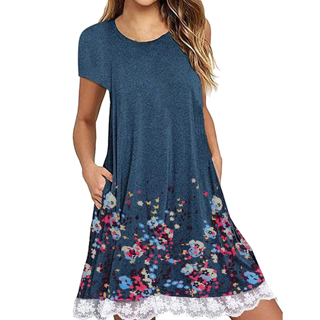 NRUTUP Women O Neck Casual Print Pocket Lace Short Sleeve Mini Dress Loose Party Dress (Blue,S) by NRUTUP (Image #1)