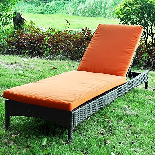 Outdoor Wicker Chaise Lounge Chair With Cushion, All Weather Resistant Patio Beach Sling Folding Chair, Anti-Rust Aluminum Frame Reclining (Random Color)