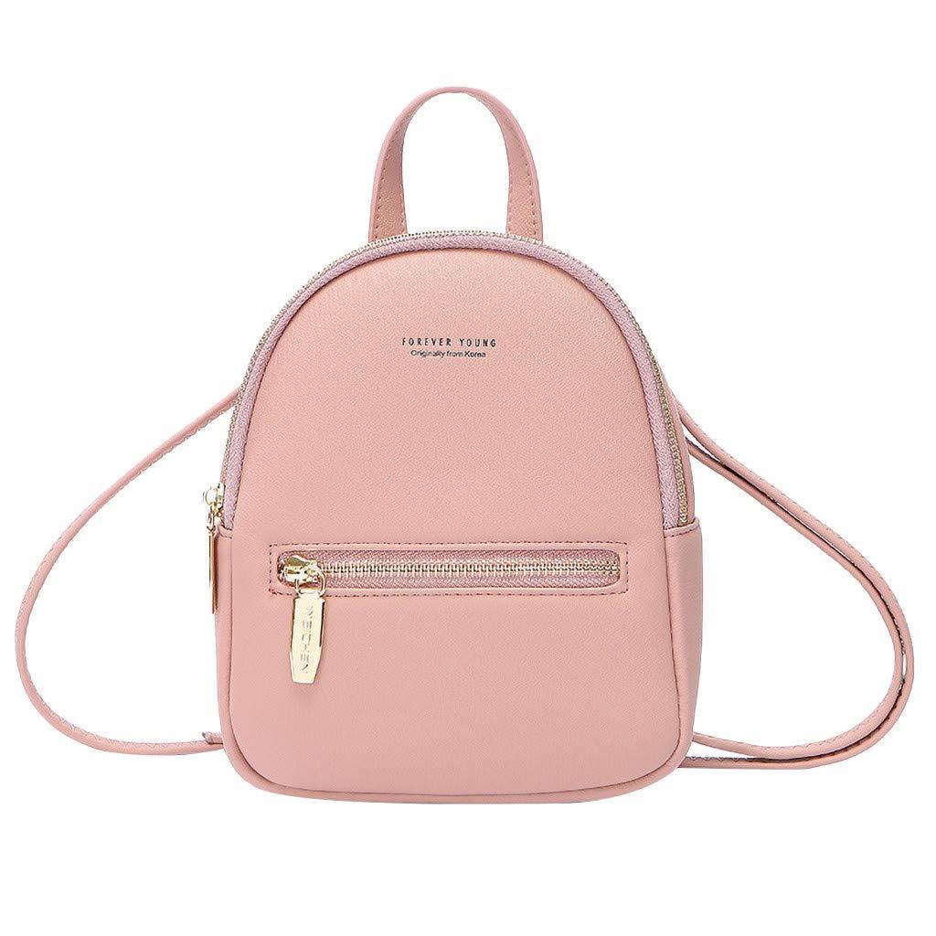 Ganenn Women's Fashion Colorful Leisure Messenger Bag Mini Bag Multifunction Backpack School Travel Bag (Pink)