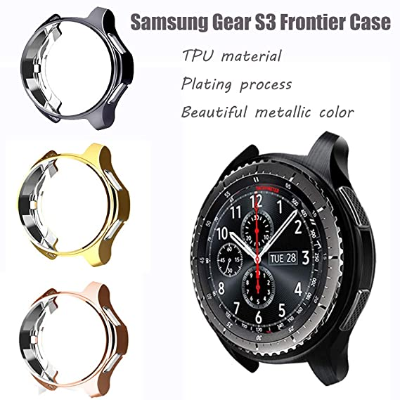 for Gear S3 Frontier SM-R760 Case,Soft TPU Fashion Metal Color Frame Shock Resistant Proof Cover Protector Shell for Samsung Gear S3 Frontier SM-R760, ...