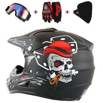 S M XL L QHYXT Casco de Motocross Off Road Motorcycle Dirt Bike Cool Casco fant/ástico Dual Sport Endurance Race Casco//Gafas//M/áscara//Guantes Racing
