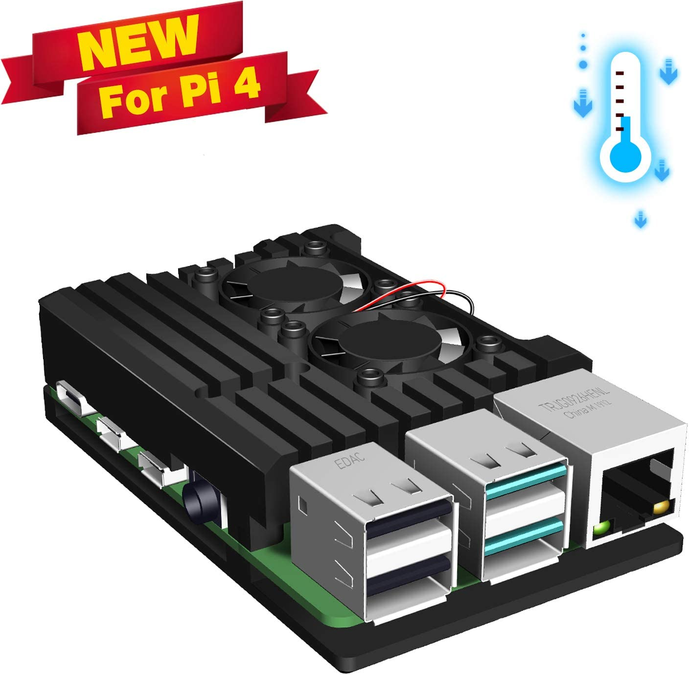 Jun-Electron for Raspberry Pi 4 Model B Case, Dual Cooling Fan, Enclosure Aluminum Alloy Case with Heatsink Pillar