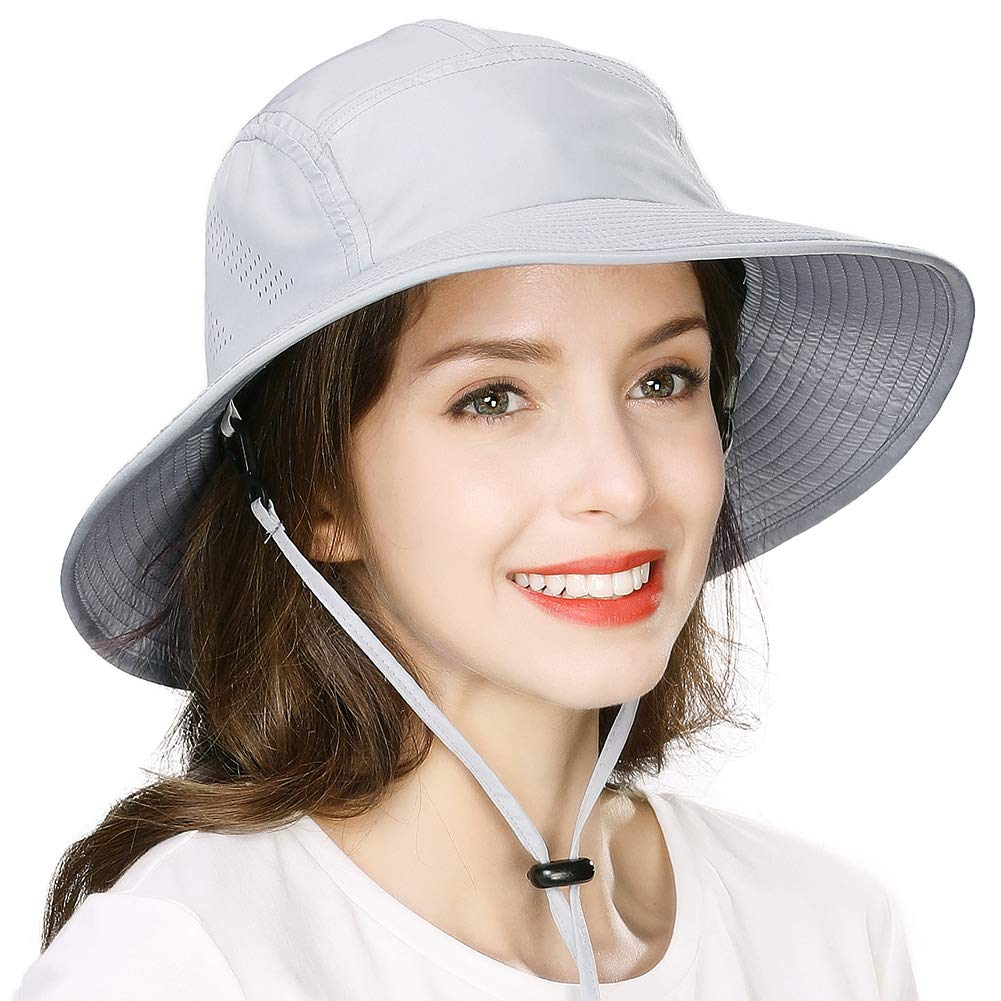 Comhats Summer Beach Bucket Hat for Women/Men Sun UV Protection Chin Strap Sweatband Brim Packable Floppy Boonie Fishing