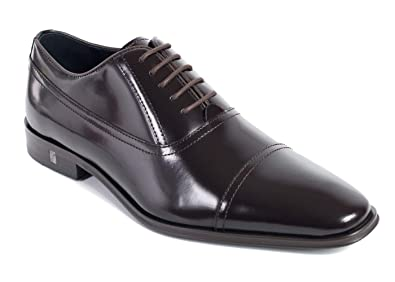 38cc81fd46a Image Unavailable. Image not available for. Color  Versace Collection Mens  Brown Polished Leather Cap Toe Oxfords