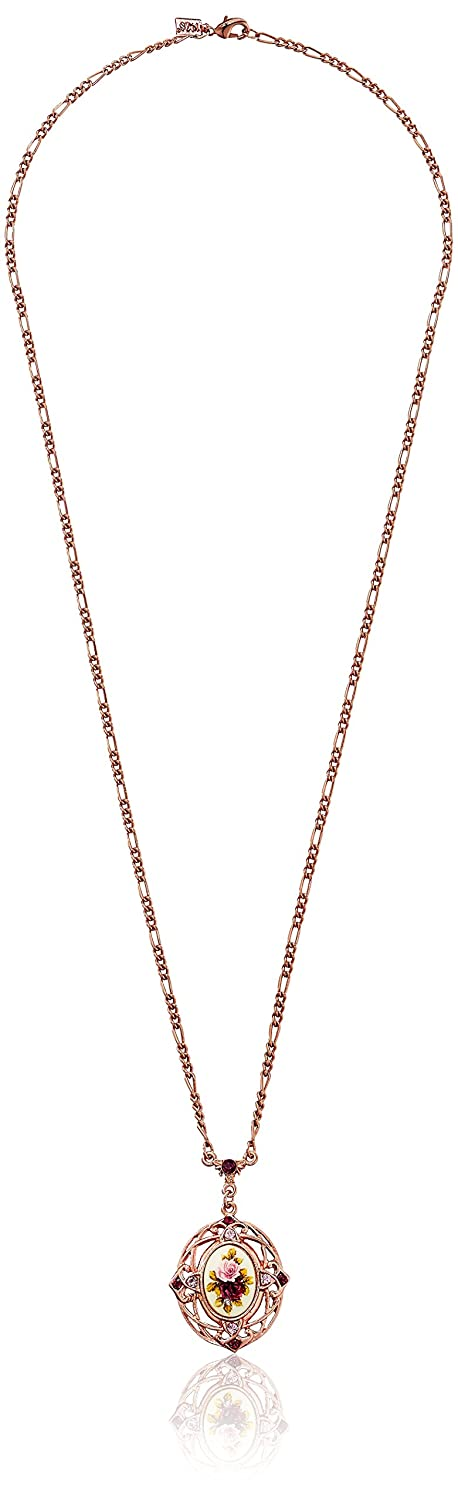 1928 Jewelry Vintage-Inspired Floral Manor House Pendant Necklace Rose Gold-Tone Necklace, 28 28 51273