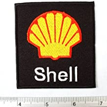 "Shell Lubricant Petroleum Fuel Oil Logo Gas Station Badge Embroidered Iron on Patch DIY T-shirt 3x3"" Black"