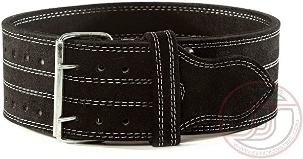 Serious Steel Fitness Leather Weight Lifting Belt Powerlifting, Weightlifting Exercise Belt 4 Wide 10mm Thick