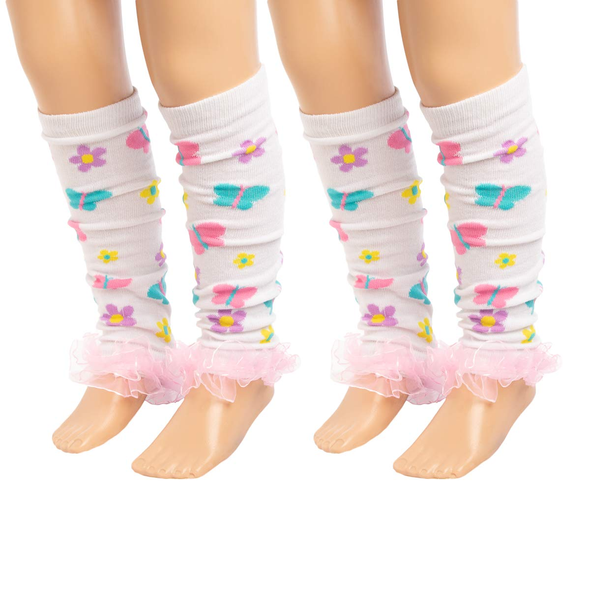 Baby-Toddler Girls Leg Warmers Patterned Dance Ruffles Princess Expressions 4 Pack