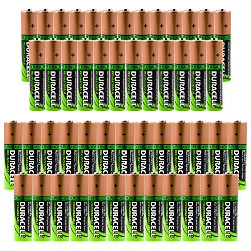 50pk Bulk Lot Container Duracell Duralock Rechargeable Batteries 25 AA & 25 AAA Battery NiMH 1.2V Duracell Nickel Camera Battery