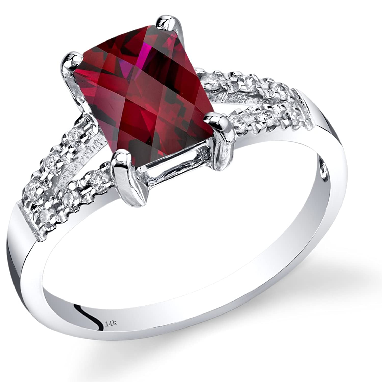 14K White Gold Created Ruby Diamond Venetian Ring 2 Carats Total
