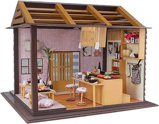 ROCK1ON DIY Miniatura Casa De Muñecas con Muebles 3D Hotel de Estilo Japonés Modello De Madera con LED Luz y Cubierta Regalos de cumpleaños de Navidad para Niños y Adultos: Amazon.es: Deportes
