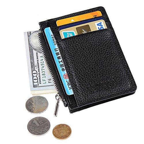 Kreditkarte Locher für Männer Slim Leder Mens Card Portemonnaie Case (Coffee) Black